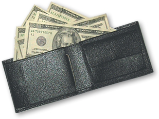 Wallet with money, cash transparent png