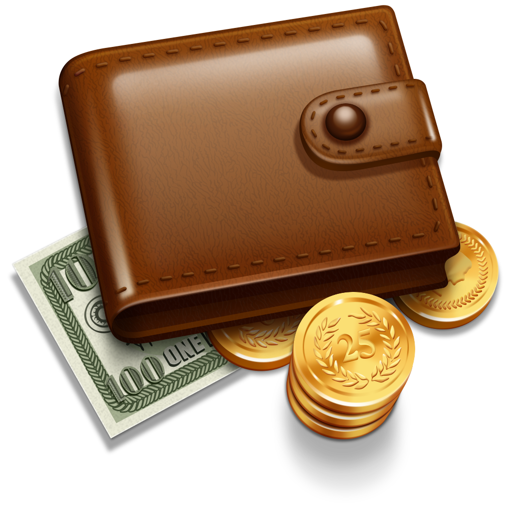 Wallet With Money, Coins Png image #42773