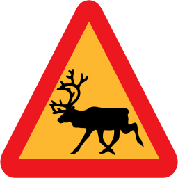 warning, reindeer, roadsign icon