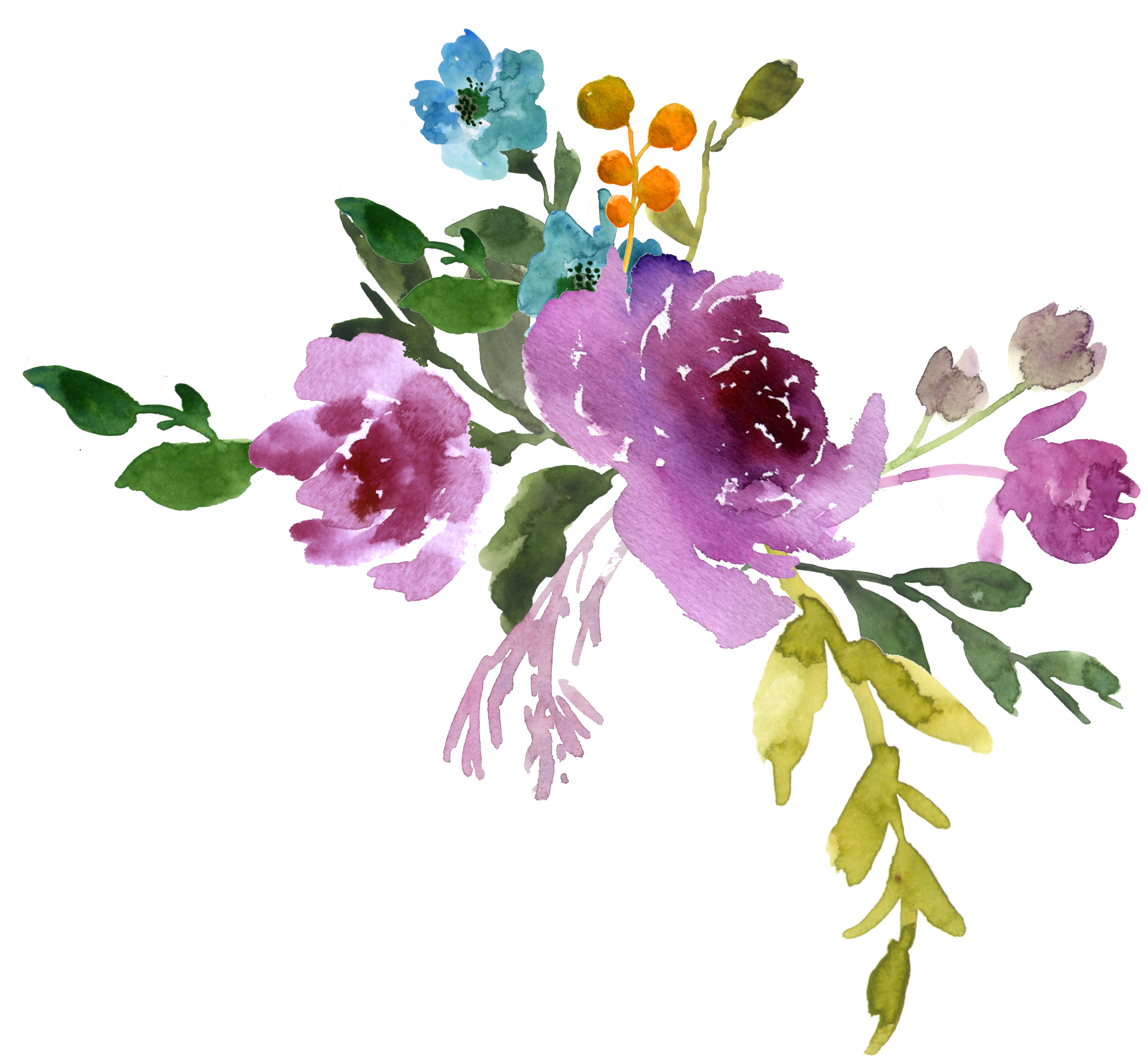 Watercolor Flowers Blue Png