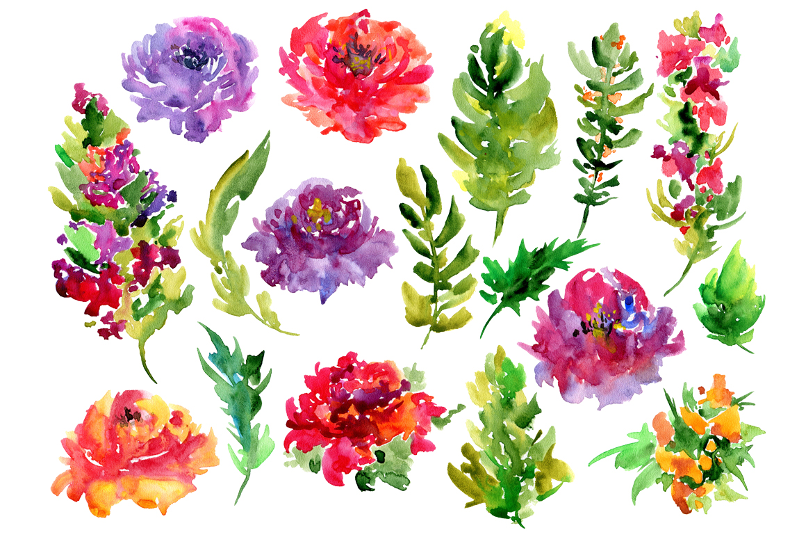 Watercolor Flowers PNG Image image #46969