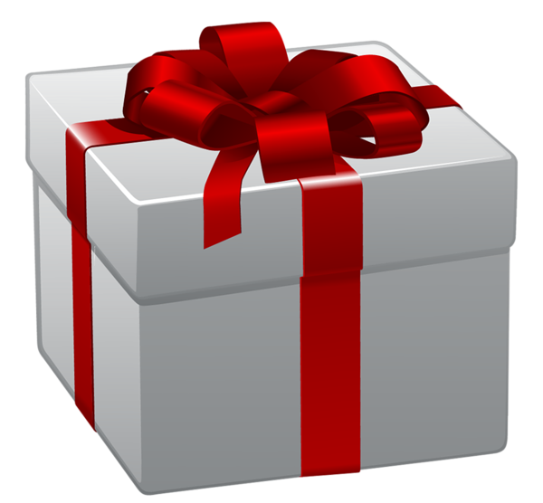 White Gift Box With Red Bow PNG image #39666