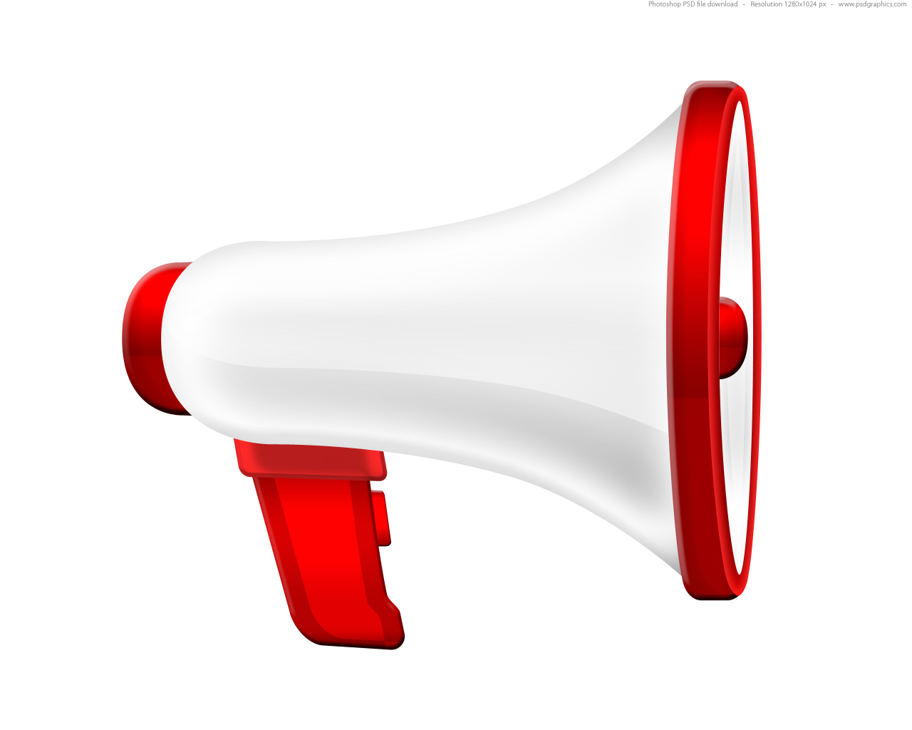 White megaphone icon (PSD) | PSDGraphics