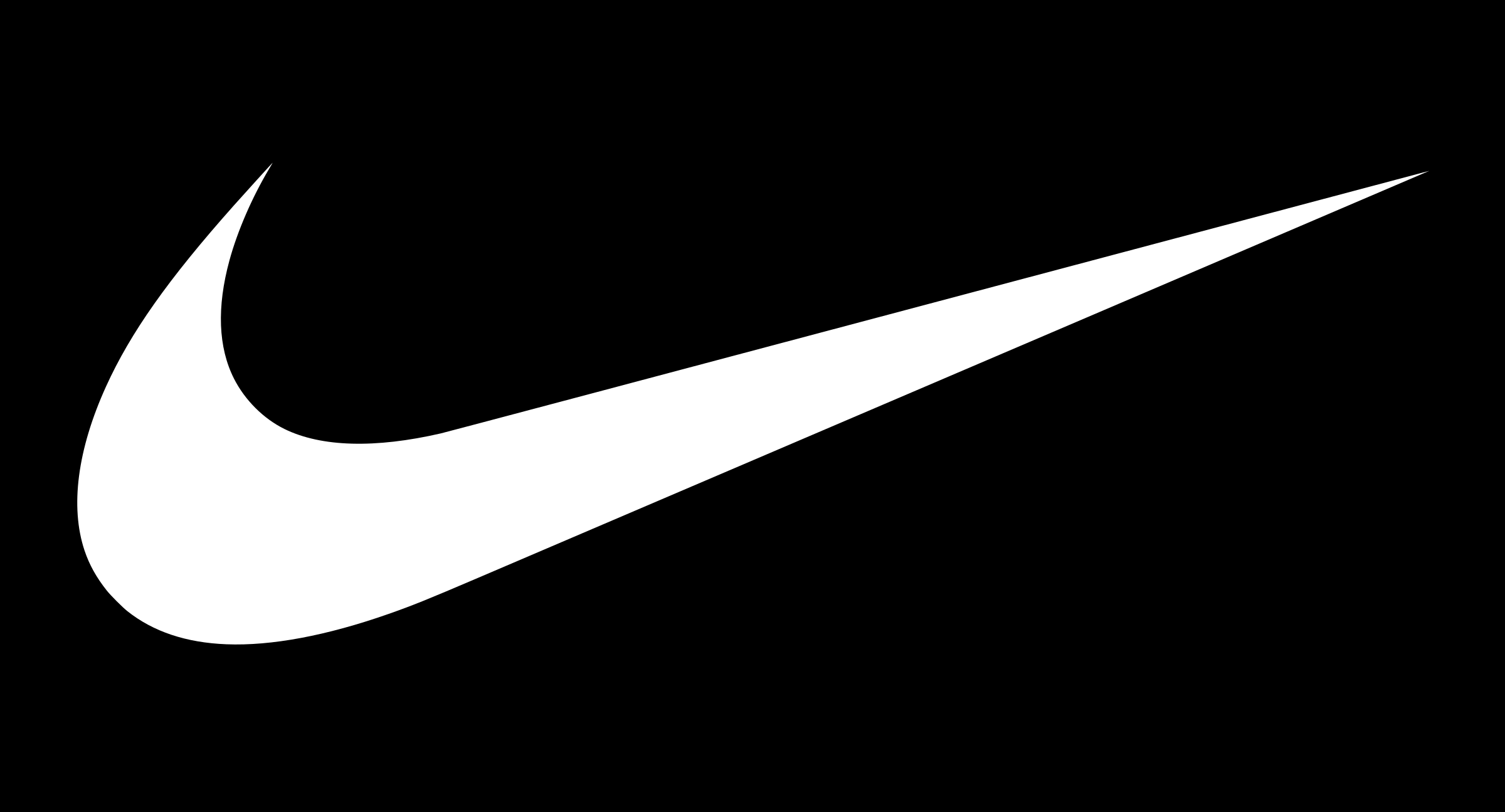 white nike logos on black background