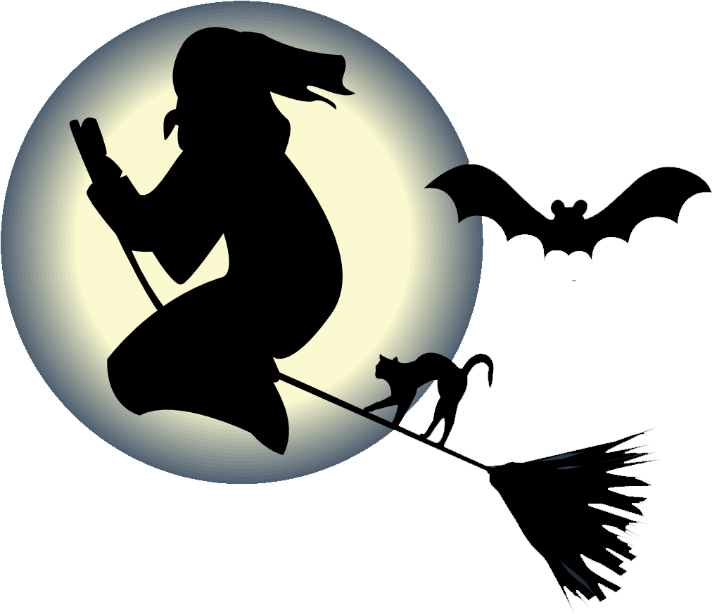 Witch Flying On Broom With A Cat And Bat In Front Png image #48957