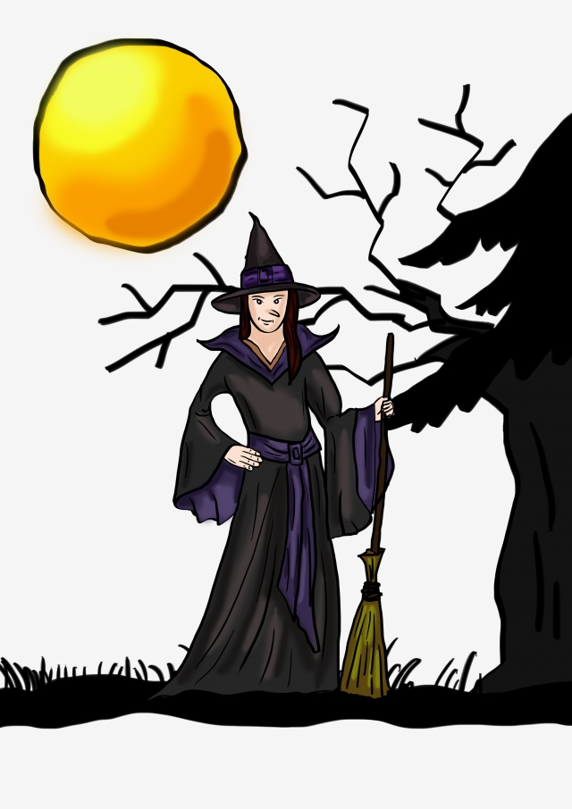 Witch, full moon, Wizard, Witch House, transparent PNG