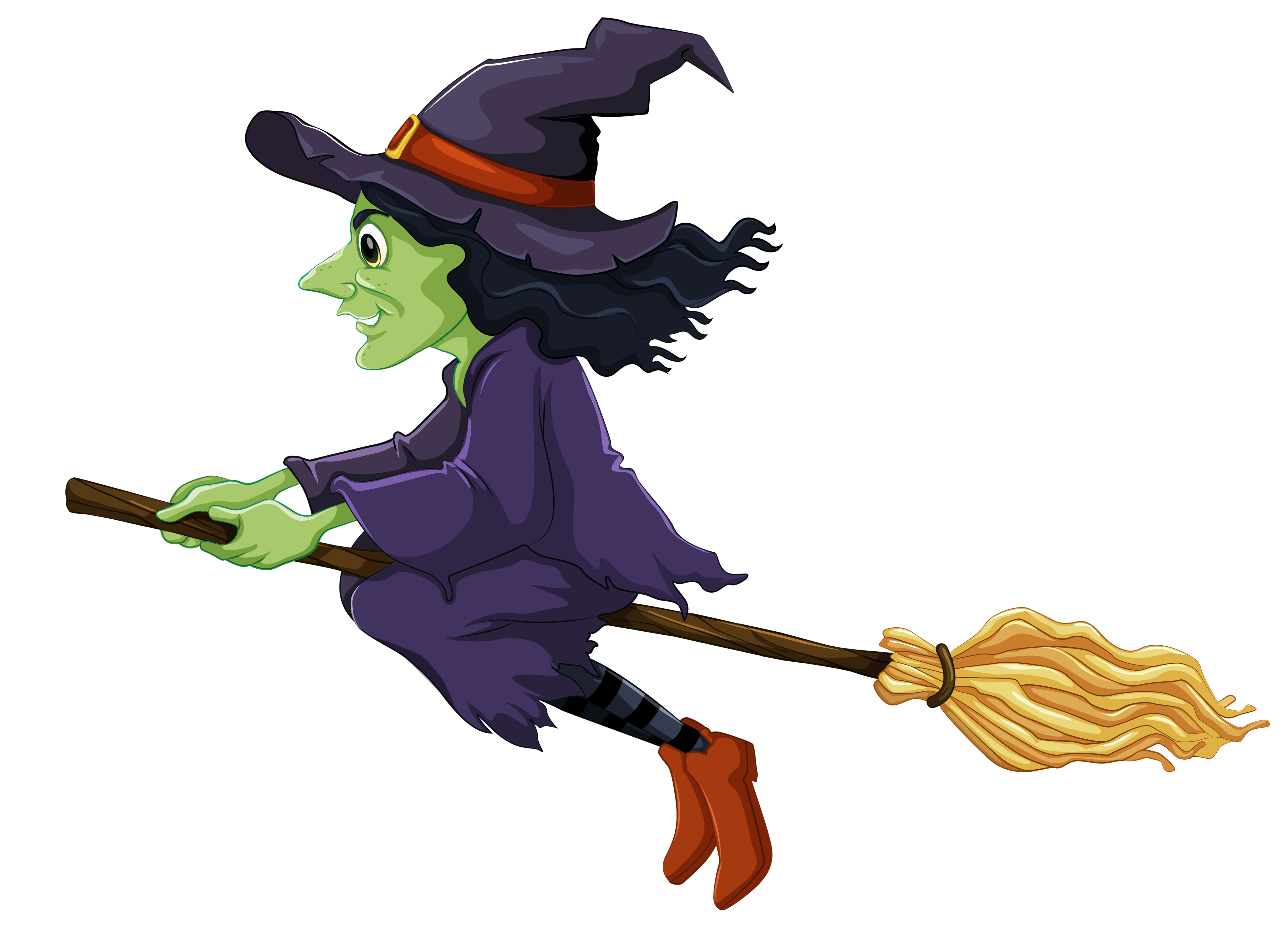 Witch On Broom Halloween PNG Image image #48945