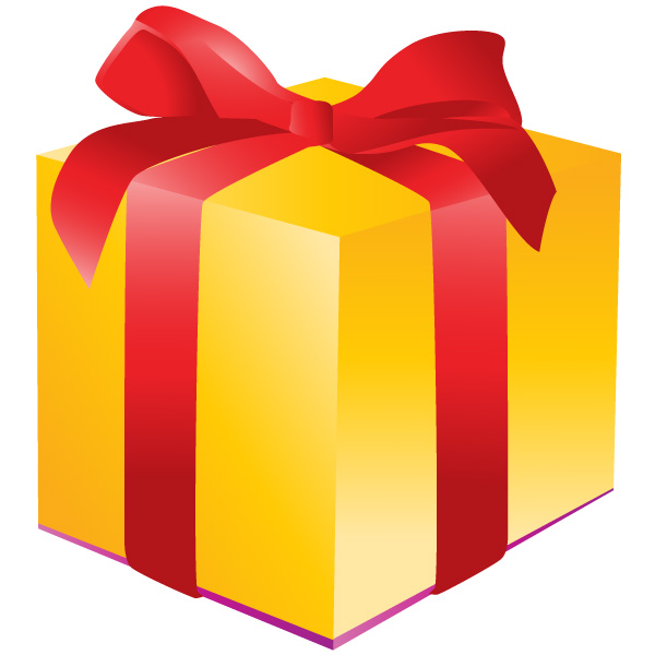 yellow gift box icon