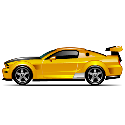 Yellow muscle car icon png