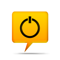 Yellow Power Button Icon image #16034
